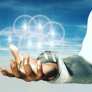De uitstraling van energie uit het Handchakra