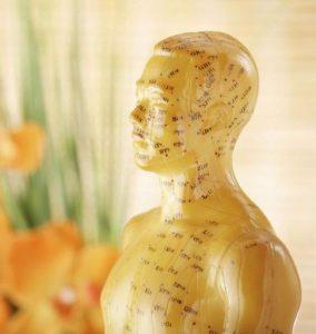 Acupunctuurpunten op hoofd en borst